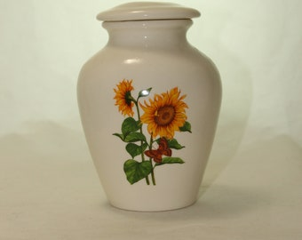 Sunflower and butterfly Ceramic Jar with Lid, Cremation Urn, Keepsake Urn, Infant or Baby Urn. Handmade small Pet Urn