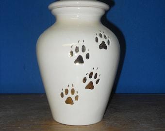 Medium Ivory  Dog UrnCeramic jar with lid,urn, Jar with lid, Cremation urn,  jar, art pottery, handmade