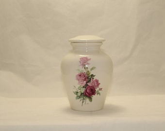 Small Cremation Urn with Pink and Bergandy Roses,Ceramic Jar with Lid.Pet Urm,Cat Urn, Small Urn for Ashes, Small jar, art pottery, handmade