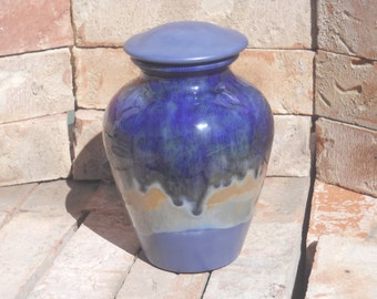 Blue Urn with shade of brown and green,Ceramic jar with lid,urn,Jar with lid,Medium Cremation urn,  jar, art pottery, handmade