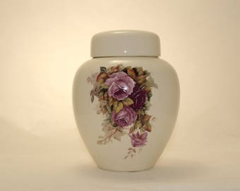 Cremation Urn Purple Orchid Roses Ceramic Jar with Lid, Adult Cremation Urn, Large Jar for Ashes, Art Pottery Funeral Urn, Handmade