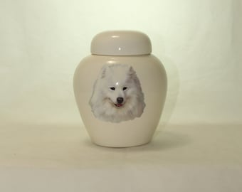 Samoyed Cremation Urn, Ceramic Jar with Lid, Pet or Dog Small Urn for Ashes, Keepsake Urn, Art Pottery, handmade