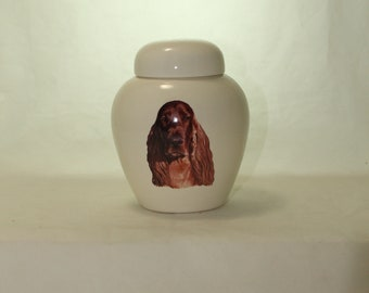 Irish Setter  Cremation Urn, Ceramic Jar with Lid, Pet or Dog Small Urn for Ashes, Keepsake Urn, Art Pottery, handmade