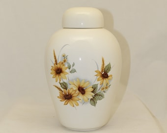 Sunflower Adult Cremation Urn for Human Ashes, Ceramic Jar with Lid, handmade  funeral urn