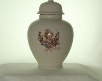 Angel and Roses Ceramic Jar with Lid, Baby or Infant Urn, Ashes Keepsake Urn, Tiny Pet Urn, Cat Urn, Small Dog Urn, Art Pottery, Handmade