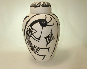 Native American Cremation Urn, Large Ceramic Jar with Lid, Adult Cremation Urn for Ashes, art pottery, handmade pottery
