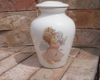 Angel with Kitten Cremation Urn, Small Jar with lid, Baby Urn, Infant Urn, Pet Urn,  Kitten urn. art pottery, handmade
