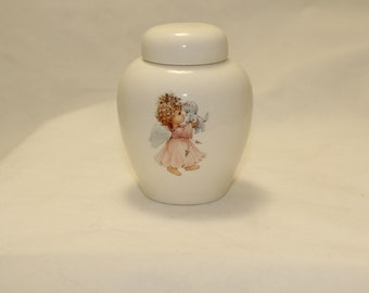Tiny Cremation Urn with Angel in Pink holding Kitten on white Jar with lid, Baby or Infant Urn, Cat Urn Small Pet Urn, art pottery, handmade