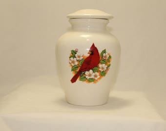Cardinal Cremation Urn,  Ceramic Jar with lid, Medium Cremation Urn, Keepsake Urn, Sharing Urn, Art Pottery, Handmade