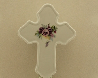 Cross Shaped Memorial Night Light, Pansy on Porcelain Decorative Light, Remembrance Gift, Wall Socket Light, Keepsake Nightlight