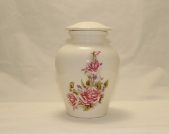 Ceramic Jar with Lid with Pink Roses,Medium Cremation Urn,Keepsake Urn for Ashes,Pet Urn, Medium Jar, art pottery, Handmade Funeral Urn