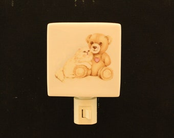 Teddy Bear with Kitten Porcelain Night Light, Memorial Remembrance Gift, Nursery Nightlight