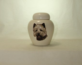 Carin Terrier Cremation Urn, Ceramic Jar with Lid, Pet or Dog Small Urn for Ashes, Keepsake Urn, Art Pottery, handmade