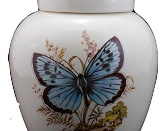 Butterfly on Cremation Urn, Ceramic Jar with Lid, Pet Cat or Dog Small Urn for Ashes, Keepsake Urn, Art Pottery, handmade