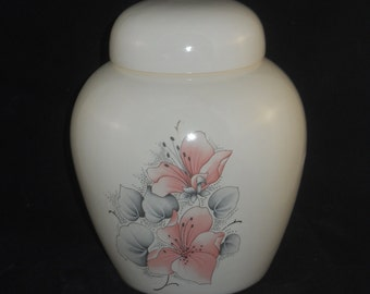 Pink Flowers Cremation Urn, Ceramic Jar with Lid,Pet Urn Jar with Lid, Small Ginger Jar,Small Pet Urn,Urn for Ashes, art pottery, handmade