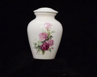 Pink Roses Ceramic Jar with Lid, Adult Cremation Urn, Large Cremation Urn. Lidded Jar, Human Ashes Urn, large jar, art pottery, Handmade Urn