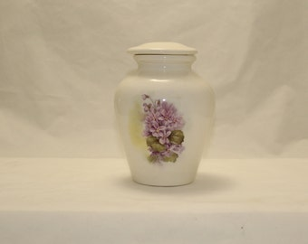 Orchid Violets Ceramic Jar with Lid, Small Cremation Urn, Baby Urn, Small Pet Urn, Cat Urn, Keepsake Art Pottery, Handmade container small