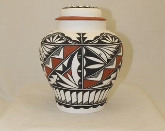 Native American Extra Large Adult Cremation Urn, Terra Cotta and Black Handpainted large jar with lid for ashes.
