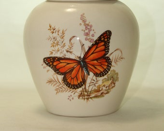 Cremation Urn with Butterfly, Ceramic Jar with Lid, Small Cremation Urn, Ginger Jar with lid, Keepsake Urn, Pet Urn, Art Pottery, Handmade