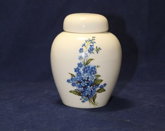 Forget Me Not flowers Tiny Cremation Urn, Infant or Baby Urn, Small Cat Urn, Tiny Jar with lid, Keepsake urn, handmade