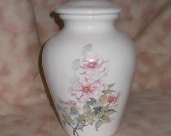 Ceramic Jar with Lid, Pink Flowers Medium Cremation Urn, Pet Ashes Jar, Cat Urn, Dog Urn. Youth Urn, Art Pottery, Handmade Funeral Urn