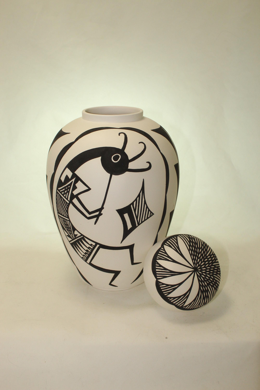 Native American Cremation Urn, Large Ceramic Jar with Lid, Adult