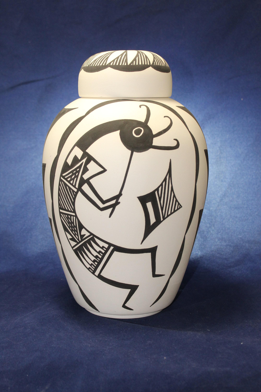Native American Cremation Urn, Large Ceramic Jar with Lid