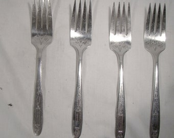"""Community//Oneida Two 7 1//8/"""" luncheon Forks Silver Plated 2 1921 Grosvenor"""