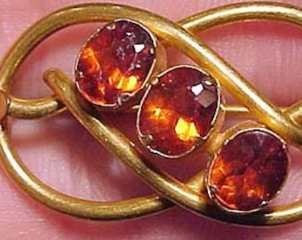 c2921162943 Victorian Rolled Gold Plate Pin Brooch with Orange Cut Glass Stones  1860-1880