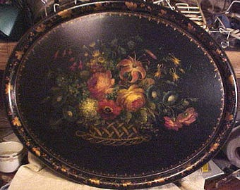 19th C. Hand Painted Toleware Large Tray