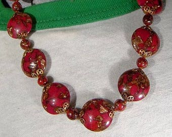 Red & Gold MURANO Glass Disc NECKLACE NOS 1930s - 1950