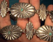 STERLING Silver TURQUOISE Concha Concho BELT Navajo Southwest 1960s