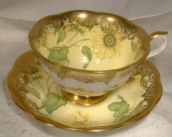 Royal Albert Portrait Series Sunflower Tea Cup and Saucer 1970s