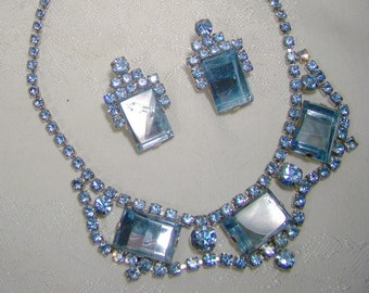 Light Blue Rhinestone Mirrored Panels Necklace and Earrings Set 1950s