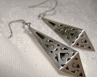 MEXICAN STERLING Silver Dangle Earrings 1960s Pierced Pyramid Signed DAM