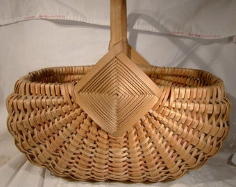 Primitive Vintage Native Splint Ash Buttocks  Basket Canada