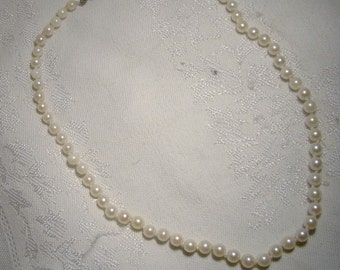 Cultured Pearls Strand Necklace with Sterling Clasp 1950s - 65 Pearls
