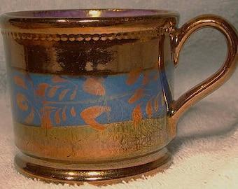8efe754d6e7 Decorated 19thC Copper Lustre Child s Cann or Mug