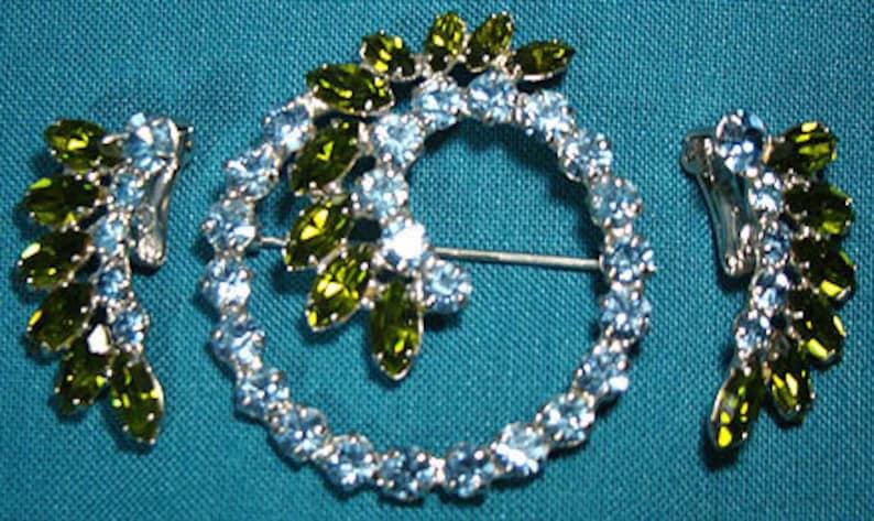 David Green Blue Rhinestone Pin /& Earrings Set 1960s Signed B