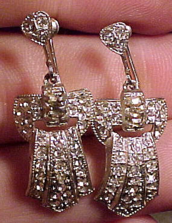 Art Deco Rhinestone Paste Dangly Earrings 1920s