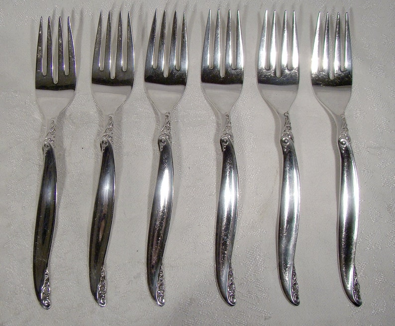 6 Rogers Leilani Silver Plated 6-34 Salad Forks 1961