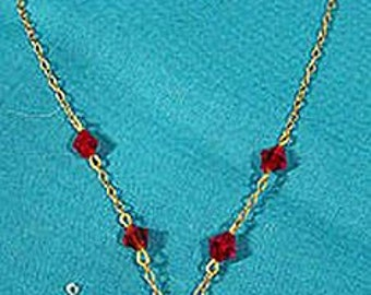 Art Deco Gold Filled Spider Red Crystal Necklace 1930 Sautoir