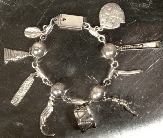 Mexican Sterling Silver CHARM BRACELET 1950s 9 Cha