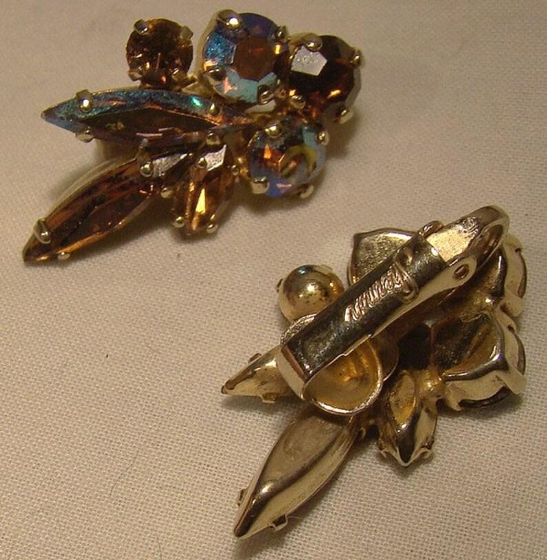 Sherman Tricolor Brown AB Rhinestone Pin and Earrings Set 1950s