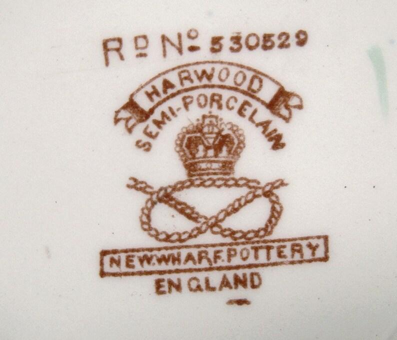 New Wharf Harwood Multicolor 9-78 Dinner Plates 1910s Cobalt Edge