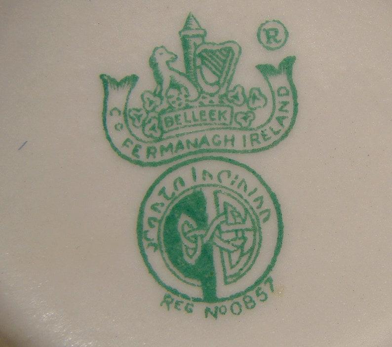 Belleek New Shell Yellow Creamer and Sugar Bowl Set Third Green Mark 1955-65