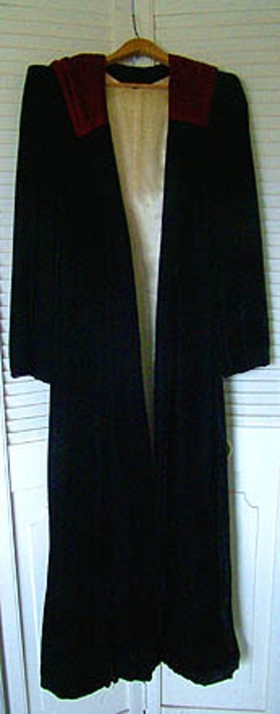 Art Deco Black Velvet Full Length Evening Coat wit