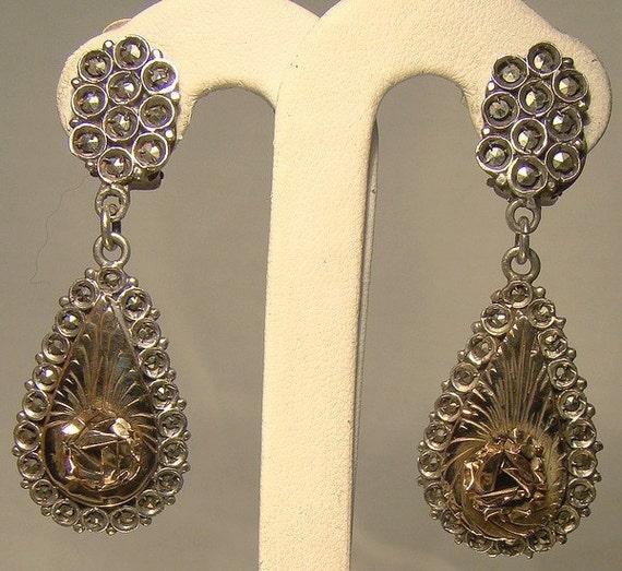 Rose Gold Sterling Silver Drop Dangle Marcasite Ea