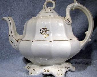 Ironstone Tea or Tobacco Leaf Teapot Tea Pot 1860s