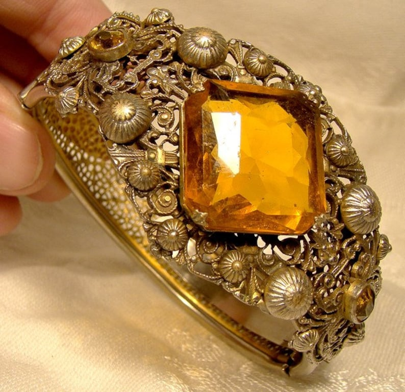 Edwardian Gilt Filigree Amber Stone Bangle Bracelet and Matching Dress Clip 1910 1920